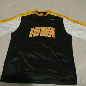 VTG Nike Team Iowa Hawkeyes Poly LS Shirt USA Made